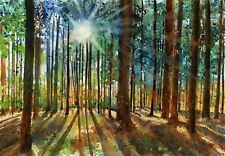Giclee Print Forest Woods Art Painting Decor Rustic Mountain Cabin watercolor
