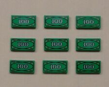 x9 NEW Lego Minifig Money $100 Dollar Bills Green Printed Tiles For Bank