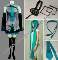 Hot Sale!Vocaloid Hatsune Miku Cosplay Costume Full Set + Headphone + Wig