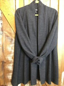 Eileen Fisher Open Front Cardigan Sweater Wool Black/Gray XL