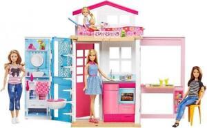 Barbie 2 Etagen Stadt Haus Portables Puppenhaus mit Puppen Zubehör Mädchen ab 3