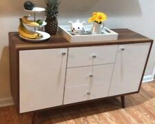 Midcentury Modern Sideboard Credenza Buffet 3 Drawer 2 Door Wood Walnut White