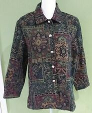 ERIN LONDON Floral Print Blue Green Maroon Tapestry Blazer Jacket Buttons Size M