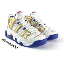 Nike Air More Uptempo GS Shoes 415082-106 White Fuchsia Gold Sz 6Y = Women's 7.5