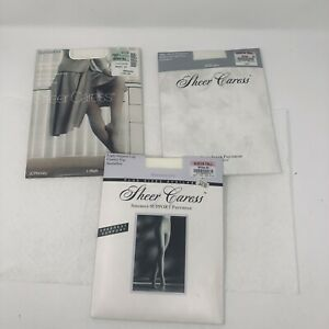 Sheer Caress Pantyhose Queen Tall White Sheerest Support LOT OF 3 New Control To
