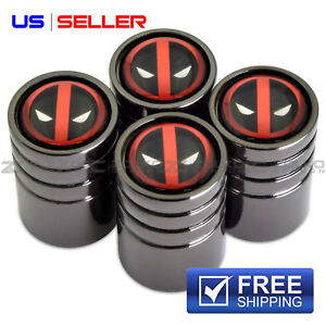 DEADPOOL VALVE STEM CAPS WHEEL TIRE BLACK CHROME- US SELLER VE60