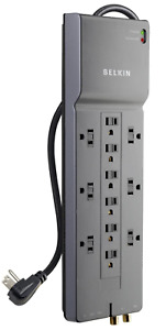 Belkin 12-Outlet Power Strip Surge Protector, 8ft Cord(3,940 Joules), Gray