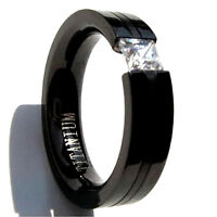 Black Plated Titanium TENSION RING, 4mm Square Cubic Zirconia - Select Sizes