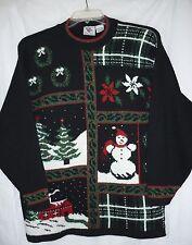 Nut Cracker Winter Christmas Sweater Size M Medium Black Red White Green Sparkle