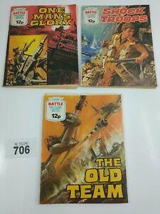 Fleetway Battle Picture Library Pocket Comic Book 3x Bundle 1221,1223,1224, #706