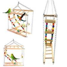 Parrot Pet Bird Toys Perch Budgie Cockatiel Chew Hanging Wood Swing Cage LI