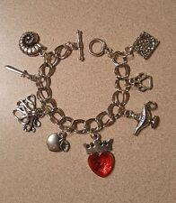 Descendants 2 inspired Silver tone Charm Bracelet Evie, Mal, Uma, Carlos & Jay