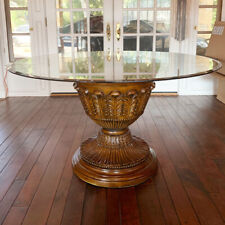 Round Glass Top Table with Decorative Wood Base