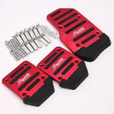 3pcs Red Aluminum Alloy Sports Car Truck Manual Non-Slip Foot Pedals Cover Trim
