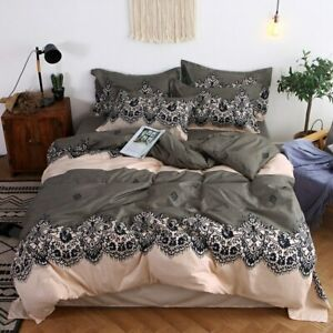 Lace Printing Bedding Set Duvet Cover Set Quilt Cover  Flat Sheet  Pillowcases
