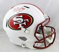 Nick Bosa Signed San Francisco 49ers F/S Flat White Speed Helmet- Beckett Auth