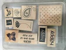 Stampin Up Happy Flower Floral 10 Lot Set Rubber Stamp Craft Scrapbook Tool #DX