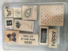 Stampin Up Happy Flower Floral 10 Lot Set Rubber Stamp Craft Scrapbook Tool #DX