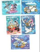 Maldives 1988 Disney Characters Space Exploration MNH (SC# 1273-1277)