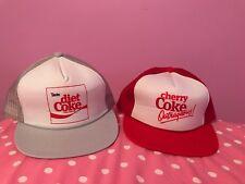 Diet Coke And Cherry Coke 80s Trucker Hats In Mint Condition.