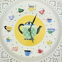 1989 Mary Engelbreit Wall Clock Battery Porcelain Plate Teapot Tea Cups