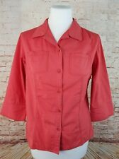 "Columbia Small Coral Red 3/4 Sleeve Button Front Blouse Cotton Outdoor 38"" Chest"