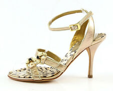 Roberto Cavalli 1151Gold Ankle Wrap Around Strappy Heels Sandlals Size 39 Italy