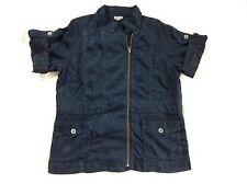 J.Jill Dark Blue Jacket Women's Size Medium Short Sleeve SXS