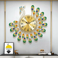 Modern Large Peacock Wall Clock Luxury DIAMOND Home Living Room Decor 60x60cm US