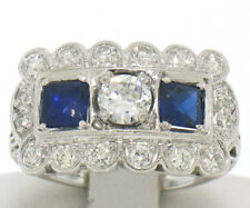 Antique Art Deco Etched Platinum 1.0ctw European Cut Diamond & Syn Sapphire Ring