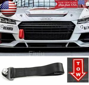 Black Bumper Crash Beam Tow Hook Strap w/ Red Tow Arrow Sticker For BMW Audi