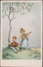 AK Kinder, Künstler,  Baum Ziehharmonika Mandoline,  Kleinformat
