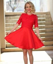 Red Ruby Half Sleeve Backless Scallop With Lace Flare Dress