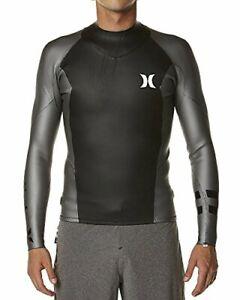 Men's Hurley Freedom 202 2mm Surf Jacket Wetsuit Top - Grey/Black (Small)