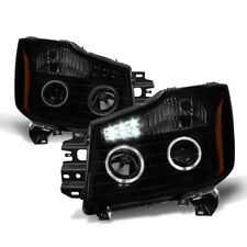 For 04-15 Titan, 04-07 Armada Black Smoked Halo Projector Headlights w/LED