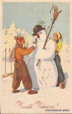 CZECH NEW YEAR POSTCARD CHILDREN WITH SNOWMAN