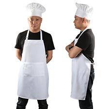Yotache Chef Apron Set, Chef Hat and Kitchen Apron Adult Adjustable White Apron
