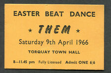 Original 1966 Them Van Morrison Unused Concert Ticket Torquay England Uk