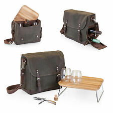 Legacy Picnic Time Adventure Insulated Double Wine Tote Service for 2 Khaki Nwt!
