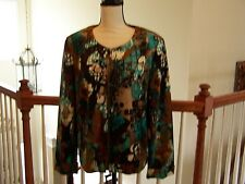 Requirements Women's Jacket L Zipper Front Long Sleeve Abstract NWOT