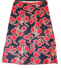 Laura Ashley Black A Line Skirt Red Floral Print Size 8 Lined Linen Cotton Blend