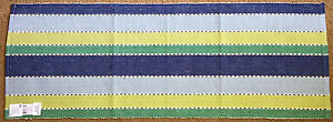 "Indigo Blue Striped Cotton Ribbed Table Runner 13""x36"""