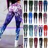 Womens 3D Print Yoga Pants Fashion Fitness Leggings Gym Anti-Cellulite Trousers