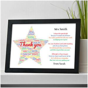Personalised Thank You Teacher Gift STAR School Teacher TA Nursery Leaving Poem