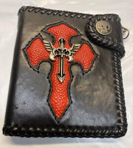 Biker Trucker Punk Black PU Leather Wallet W/Red & Silver Cross