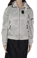 Superdry Women Jacket Silver Gray Size Small S Hood Contrast Zip Front $175 #521