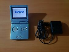 NINTENDO GAME BOY ADVANCE SP PEARL BLUE CONSOLE AGS-101 w/ Charger MINTY! CUSTOM