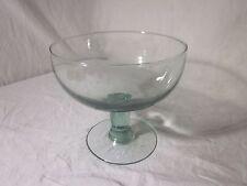 "Handblown Green Tin Pedestal Bowl 8"" Diameter x 7.5"" Tall"