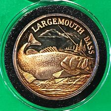 Largemouth Bass Fish Coin 1 Troy Oz .999 Fine Silver Round Rainbow Toning Medal