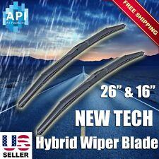 "Hybrid silicone Windshield Wiper Blades Bracketless J-HOOK OEM QUALITY 26"" & 16"""